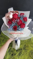 AHB9608 - Roses baby breath and balloon